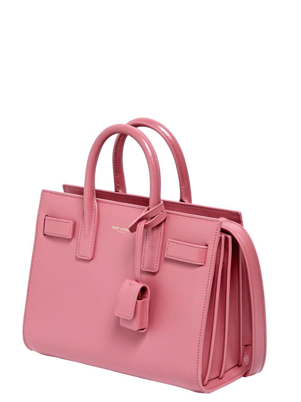 17d8e258abc8 Saint Laurent Baby Sac De Jour Leather Shoulder Bag in Pink - Lyst