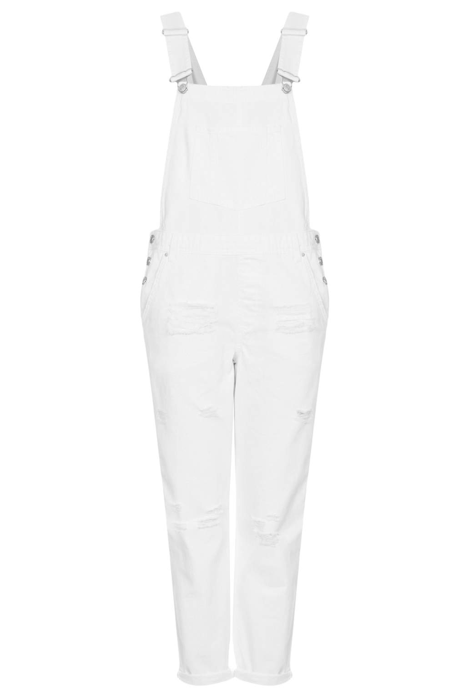 Lyst Topshop Womens Moto White Long Leg Dungarees White