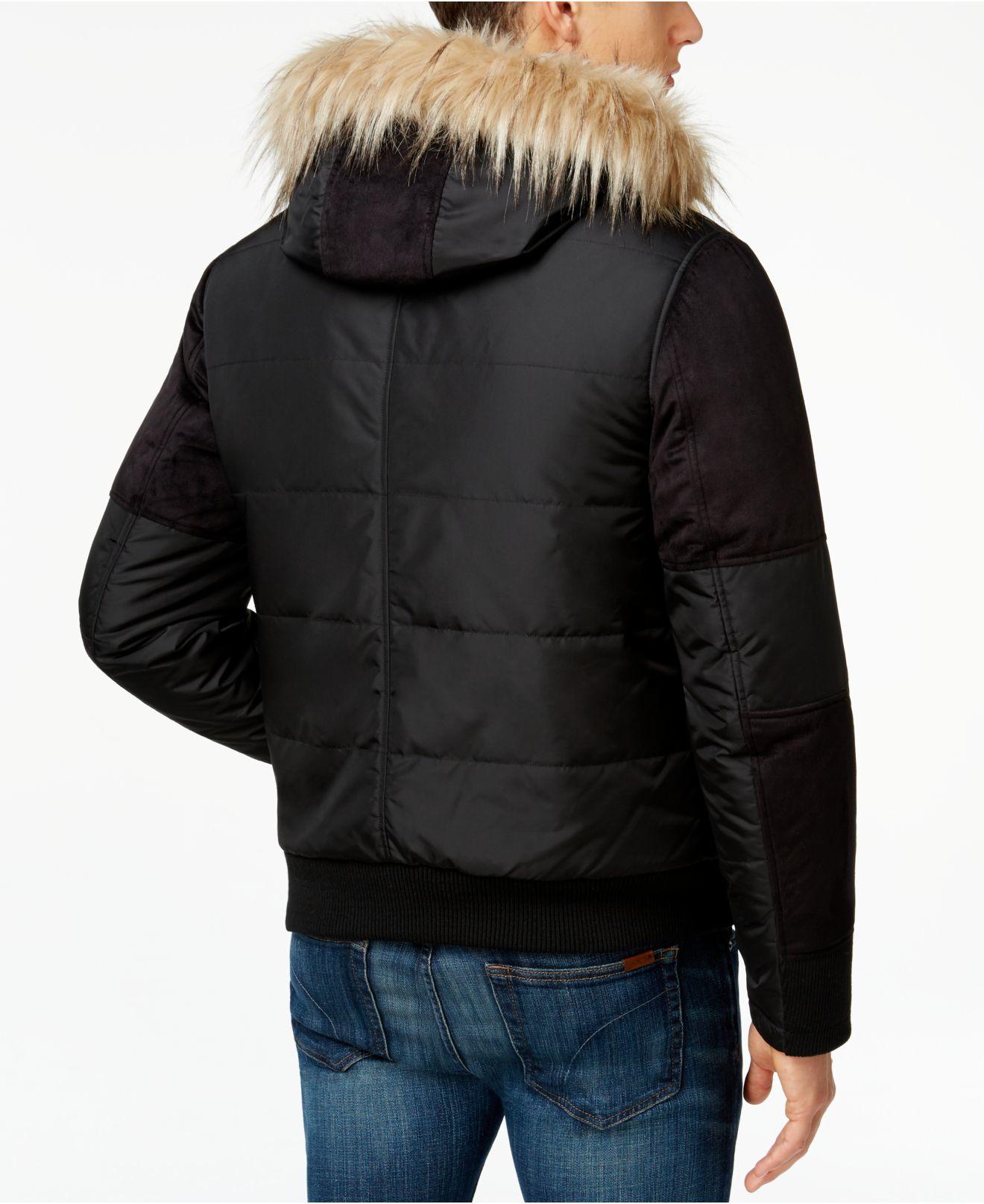 Lyst Guess Filmore Faux Fur Hood Puffer Jacket In Black