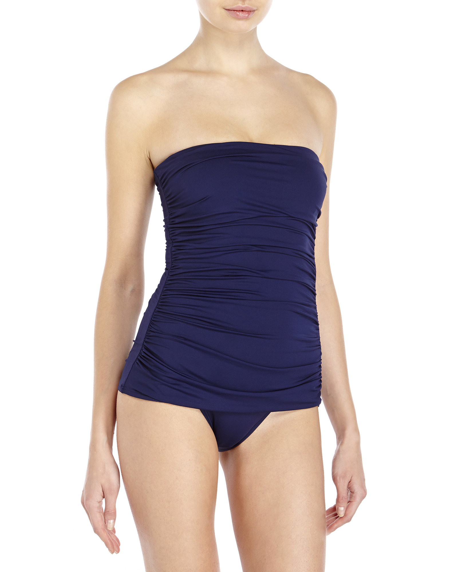 6ec834efb3535 Lyst - Ivanka Trump Bandeau Ruched One-Piece Swimsuit in Blue