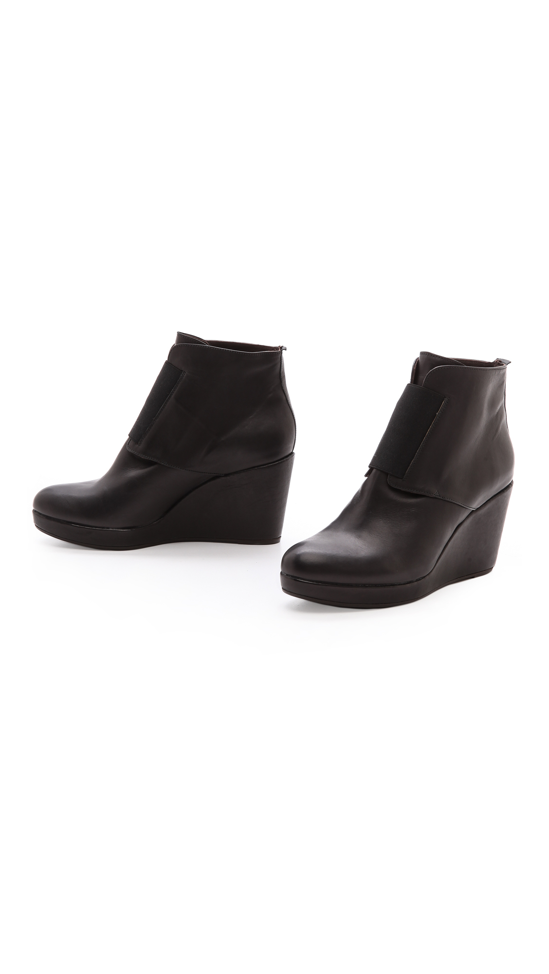coclico halette wedge booties black lyst