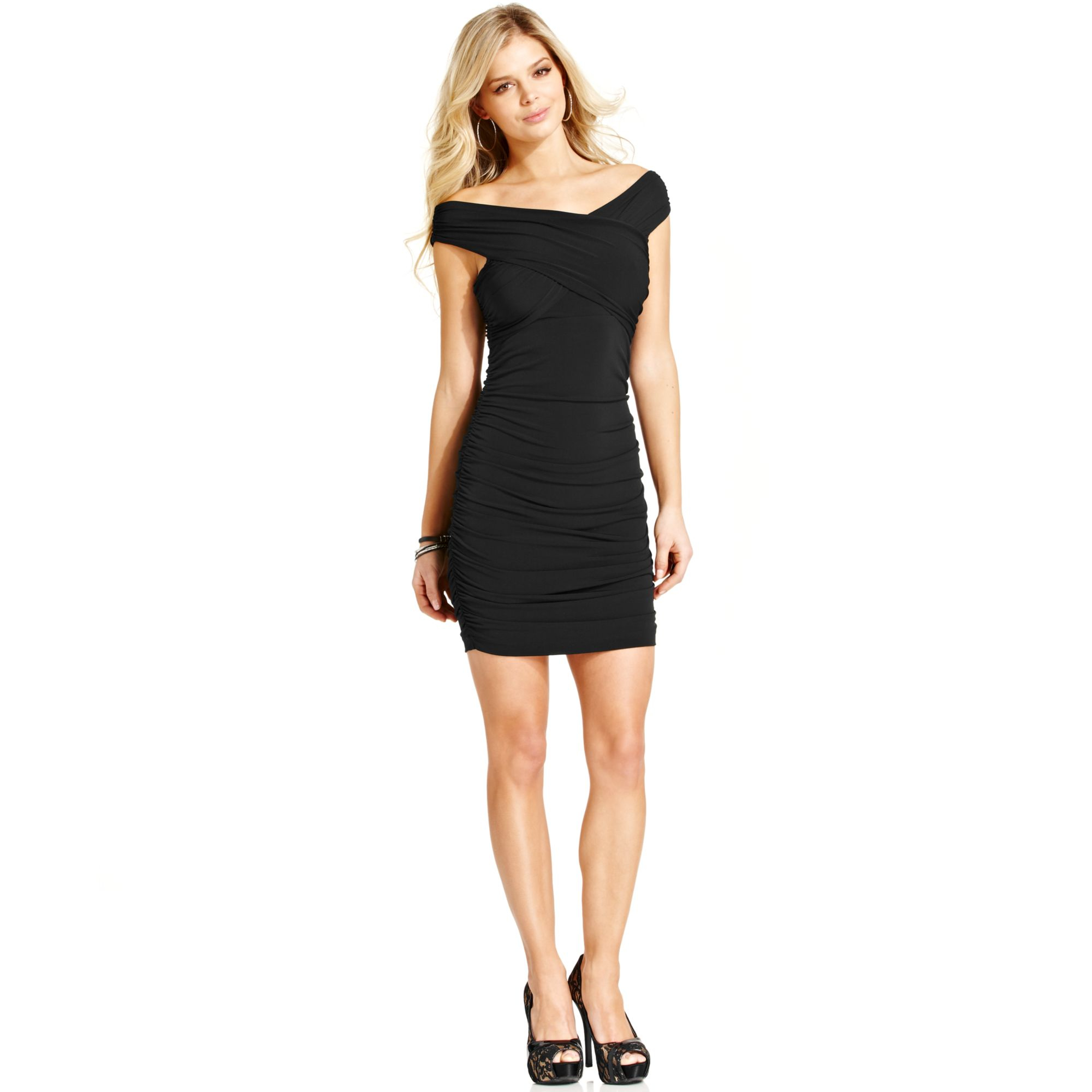 Guess Ruched Dress in Black  Lyst