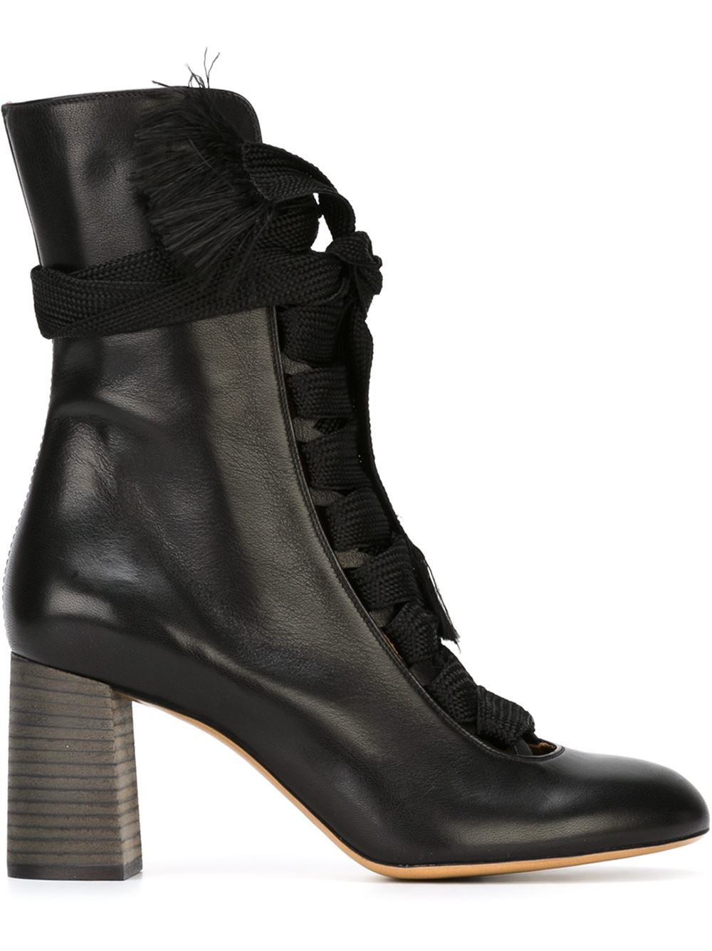 Chlo 233 Chunky Lace Up Boots In Black Lyst