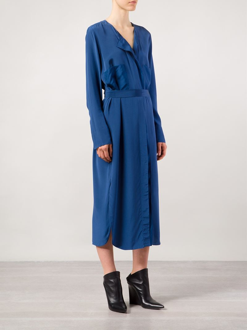 Lyst By Malene Birger Issla Belted Dress In Blue