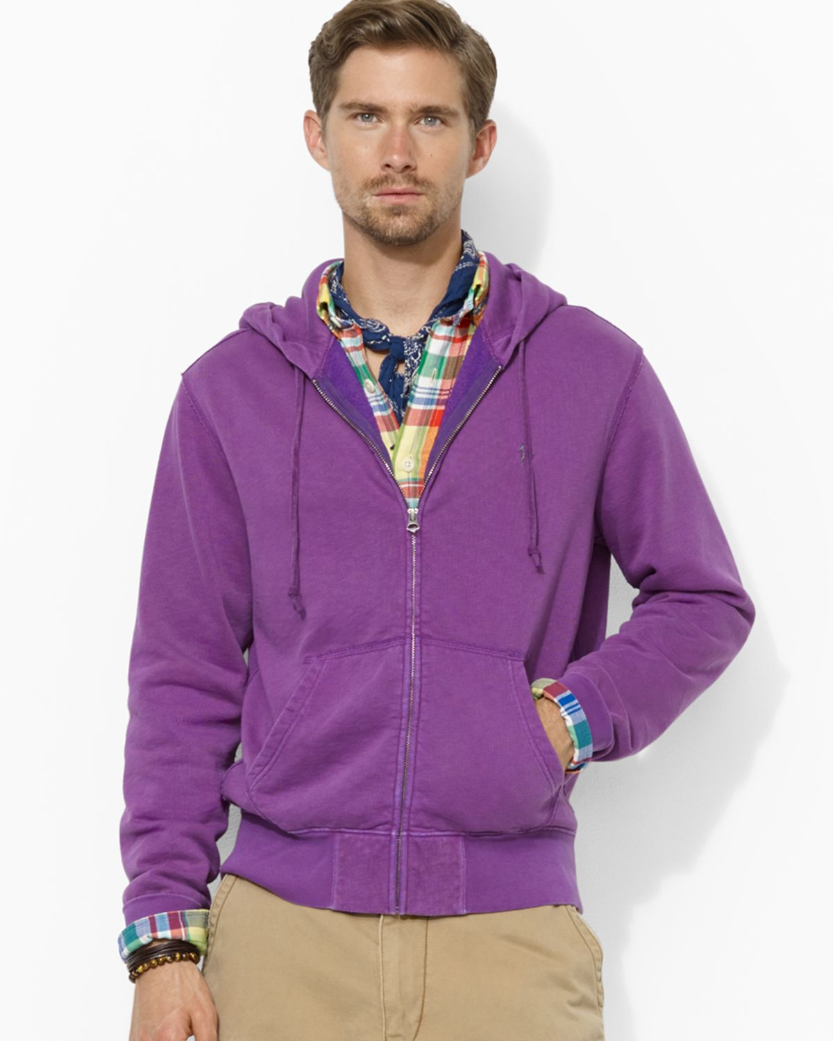 ralph lauren polo fullzip fleece hoodie in purple for men lyst. Black Bedroom Furniture Sets. Home Design Ideas