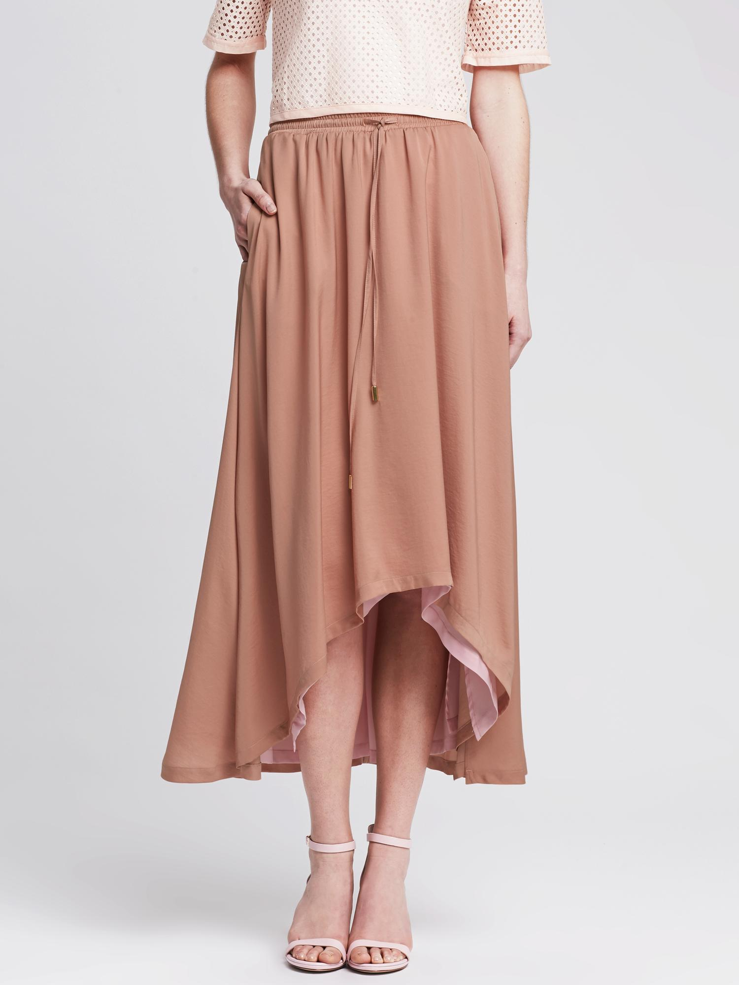 Banana republic Heritage High/low Midi Skirt in Pink | Lyst
