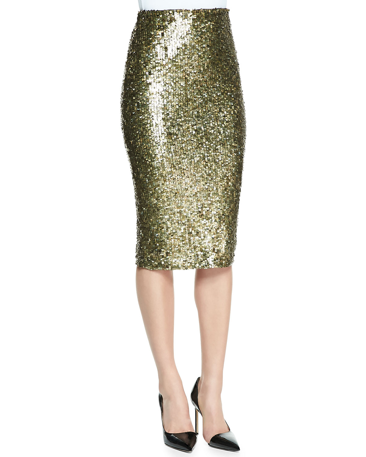 bryce sequined pencil skirt in gold bronze