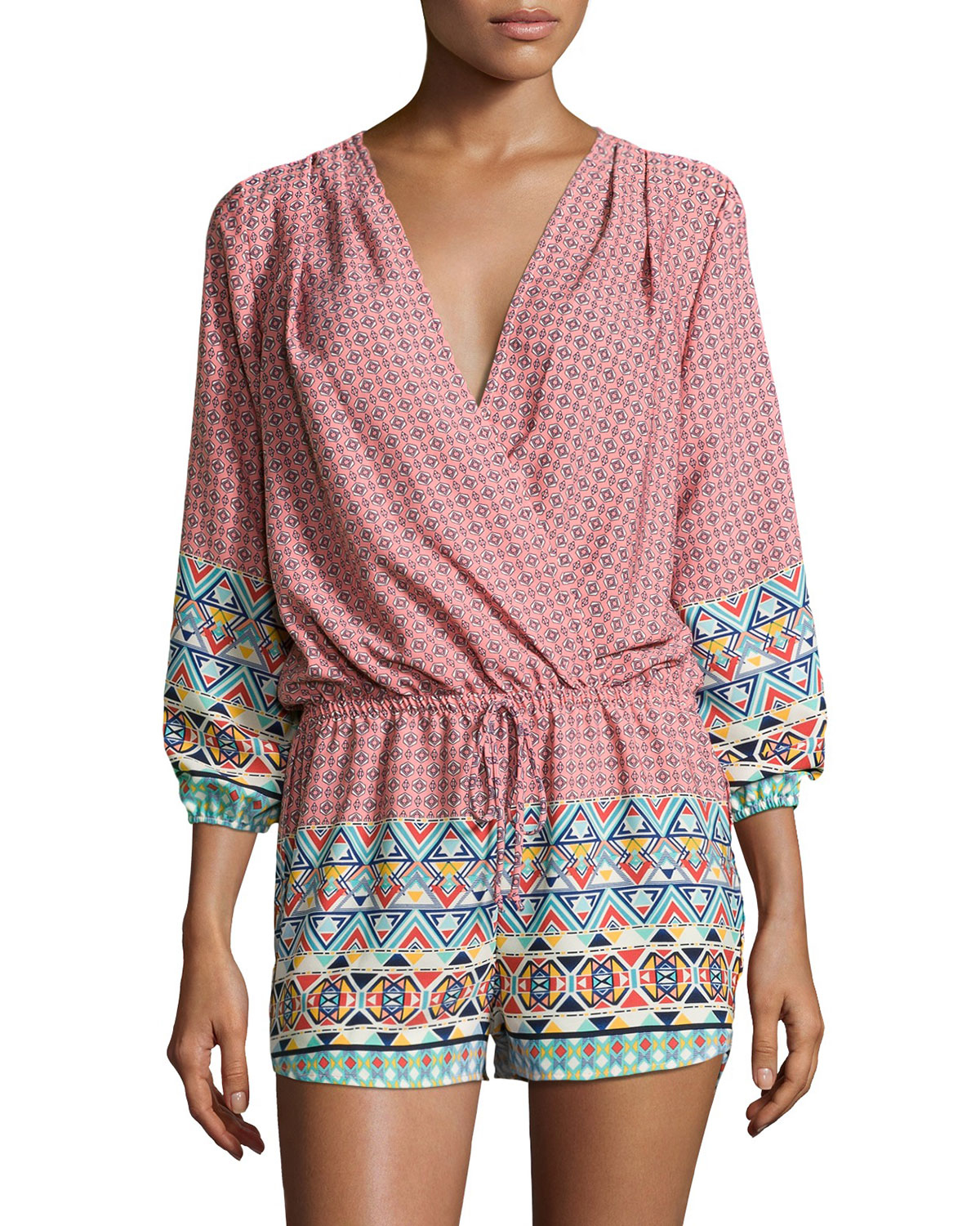 f9f7ec05158a Fraiche by j Printed Long-sleeve Romper Dana in Green