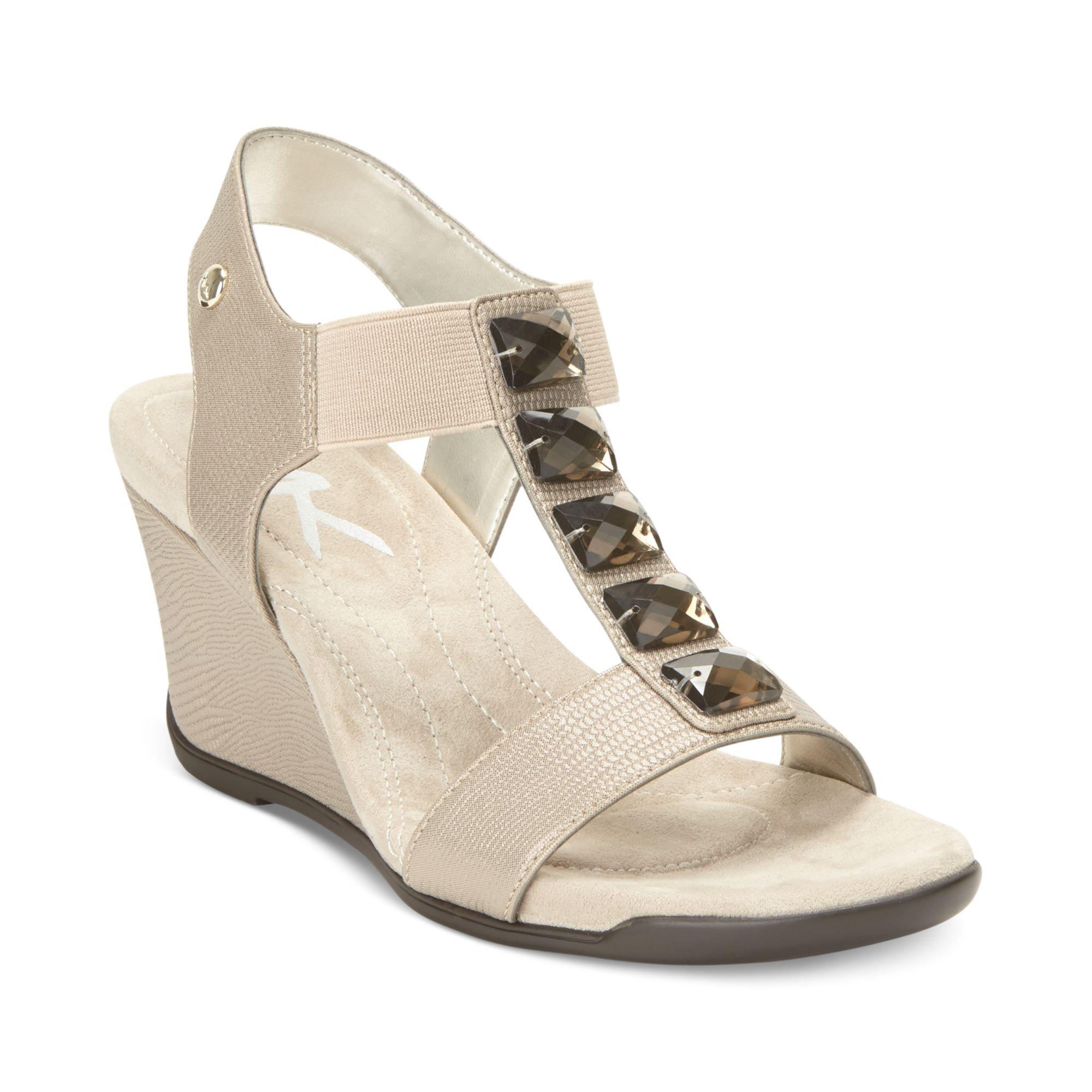 7a32a675df57 Lyst - Anne Klein Lofty Sport Wedge Sandals in Gray