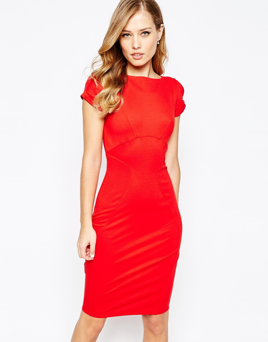 Lyst - Closet Closet Pencil Dress With Ruched Cap Sleeve ...