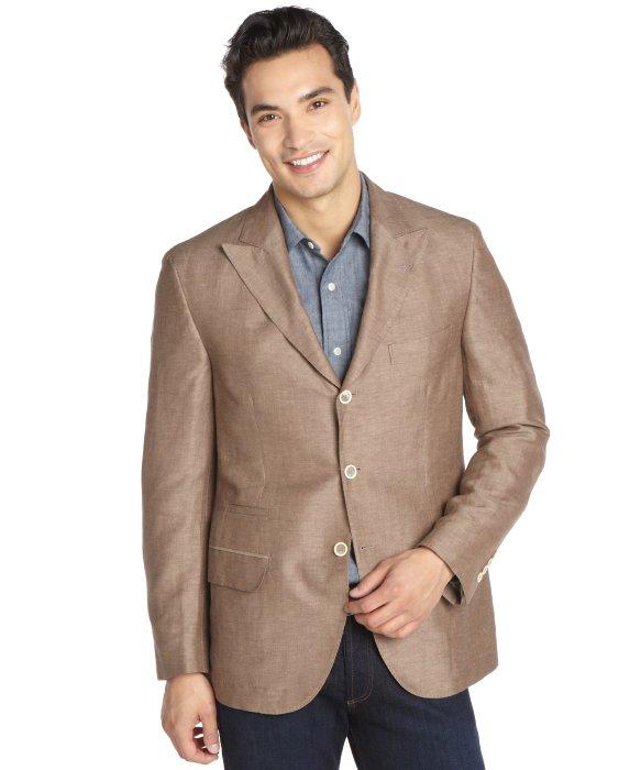 Brunello cucinelli Brown Silk And Linen Blend Three Button Jacket ...