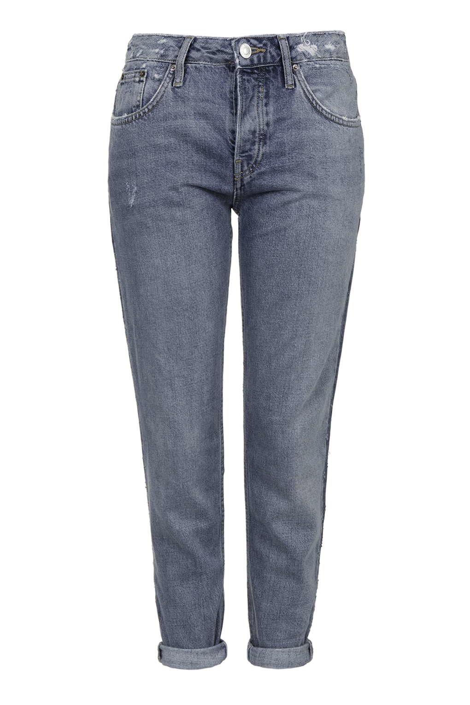 topshop petite busted hayden boyfriend jeans in blue lyst. Black Bedroom Furniture Sets. Home Design Ideas