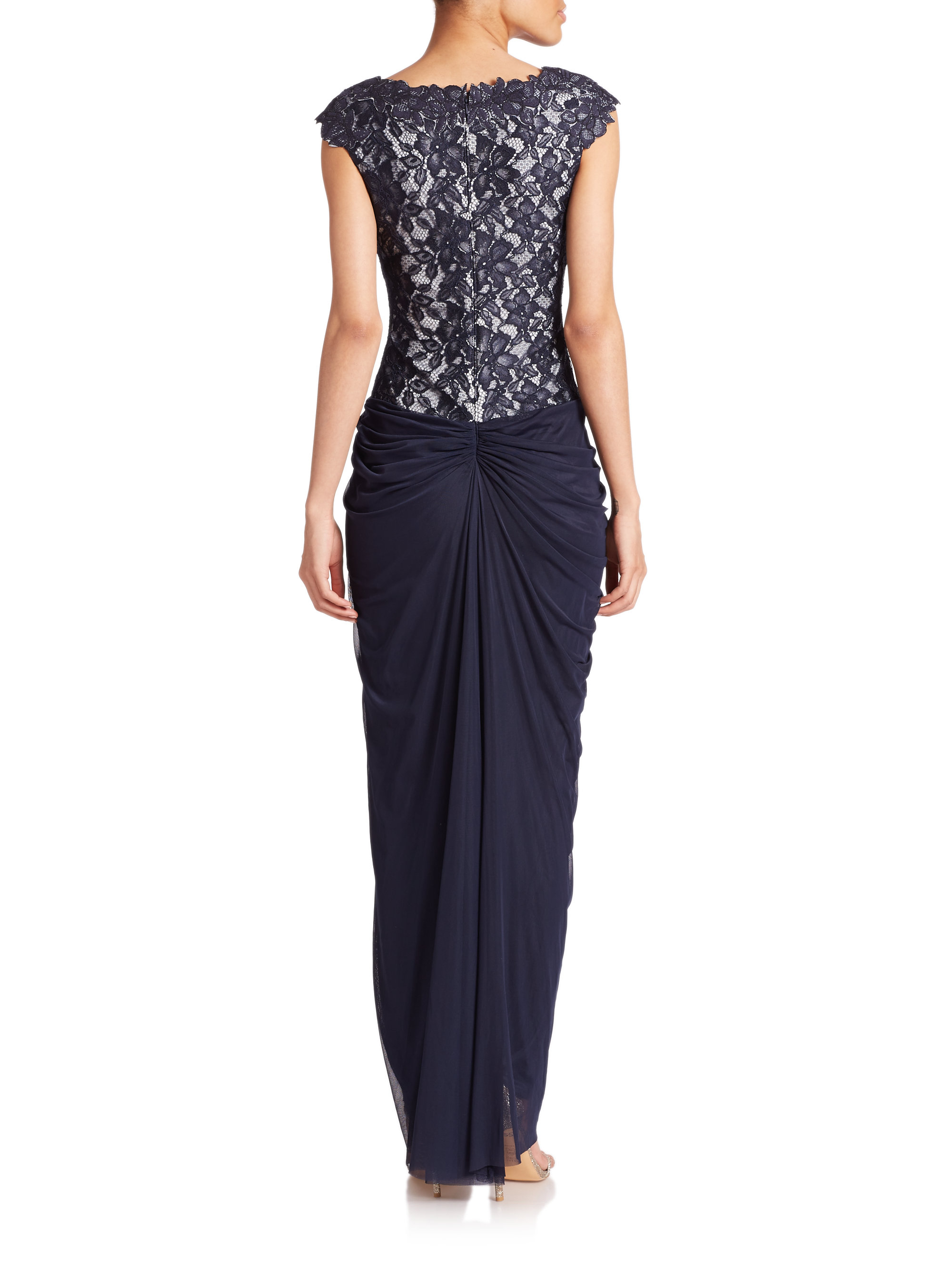 Lyst - Tadashi shoji Lace & Tulle Draped Combo Gown in Blue