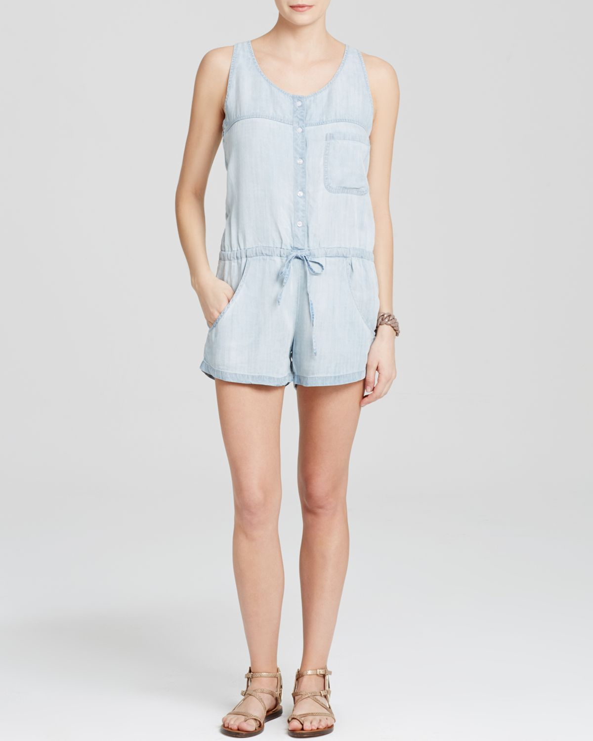 0a9fb9d8151 Rails Lily Marble Wash Romper in Blue - Lyst