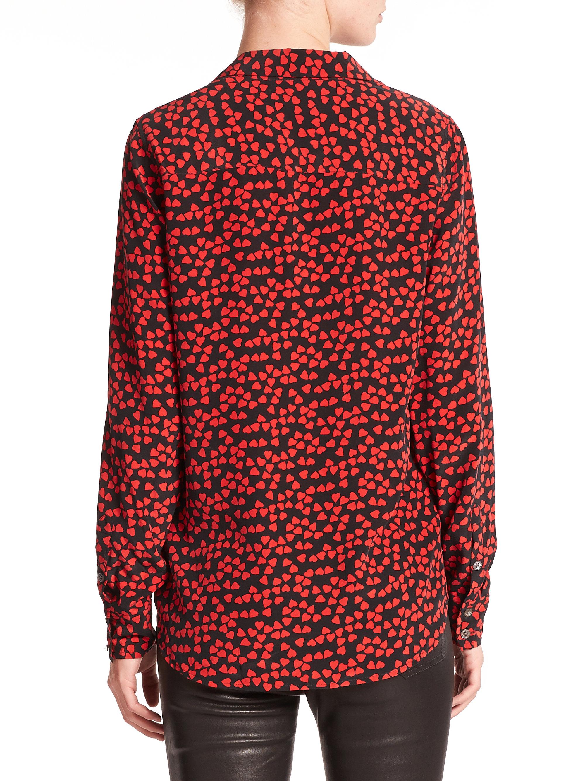 Equipment silk adalyn shirt in red lyst for Equipment black silk shirt