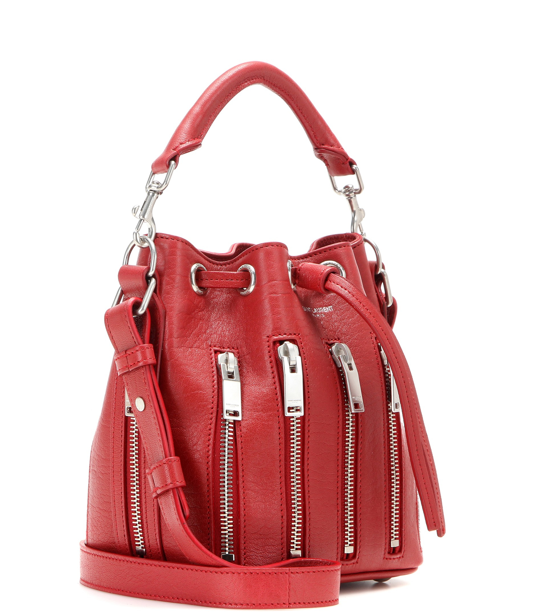 6eb20ba8ea31 ... Red ysl red patent leather clutch - monogram small star studded bucket  bag