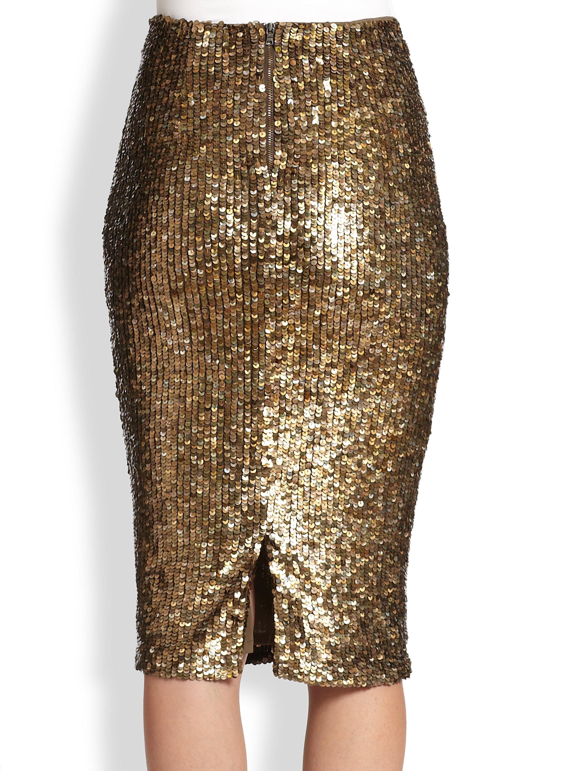 Gold Pencil Skirt - Skirts