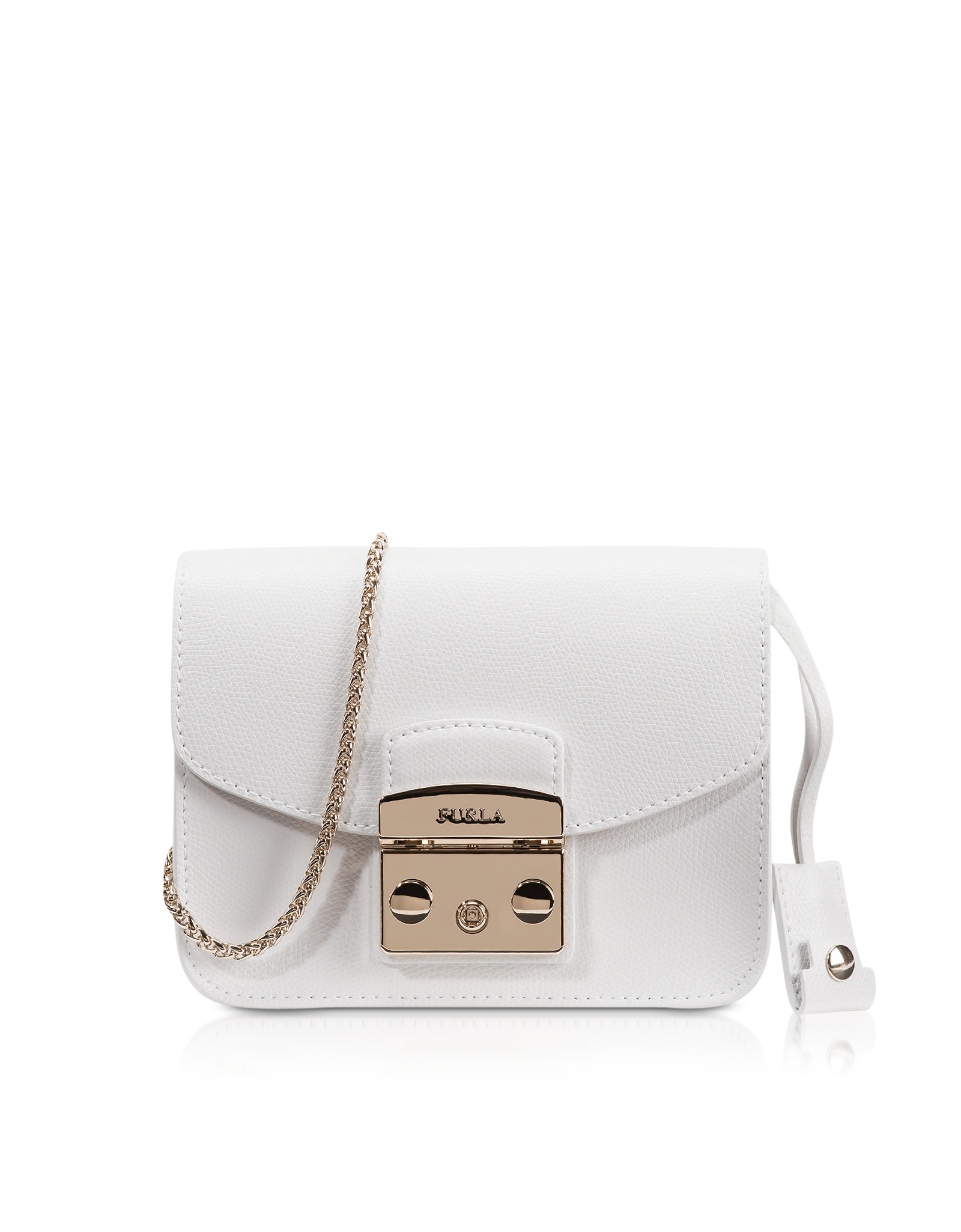 Furla Metropolis Chalk Leather Mini Crossbody Bag In White