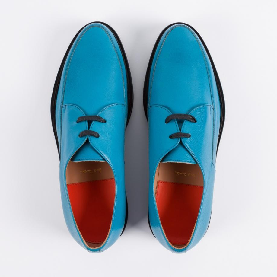 Paul Smith Men S Turquoise Buffalino Leather Nico Shoes
