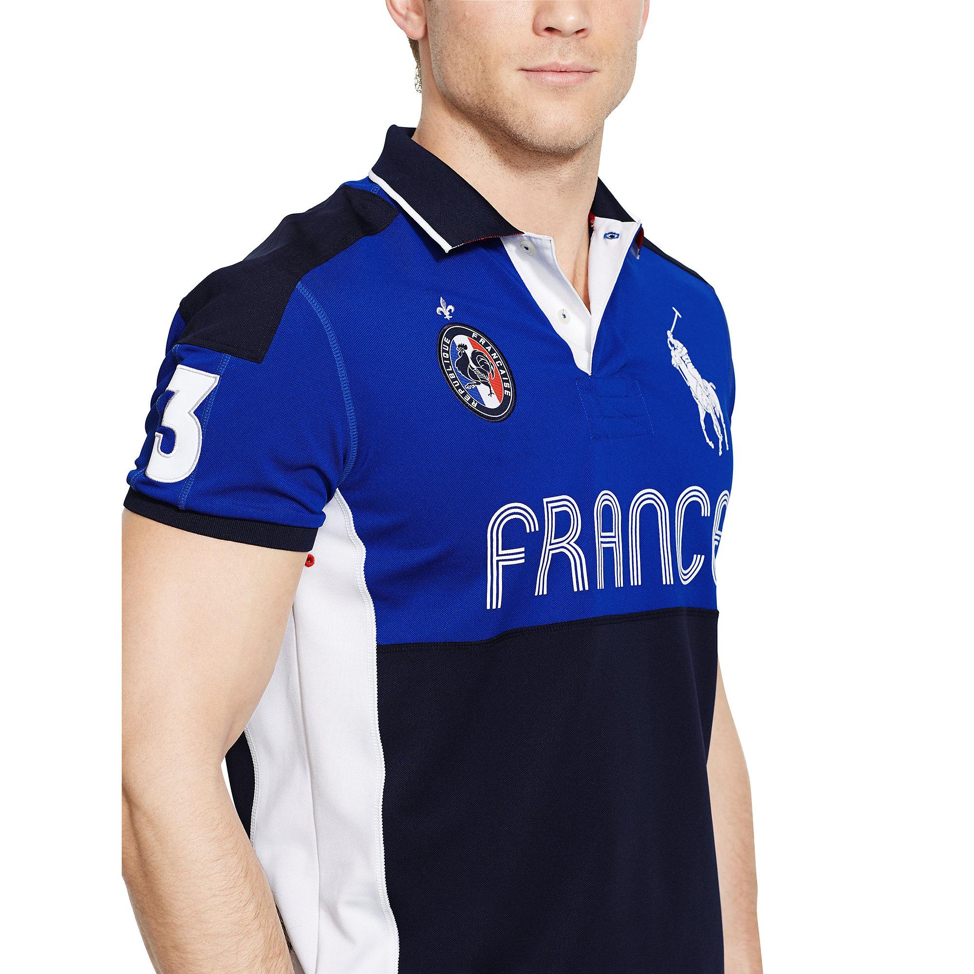 Lyst Ralph Lauren France Performance Mesh Polo In Blue For Men