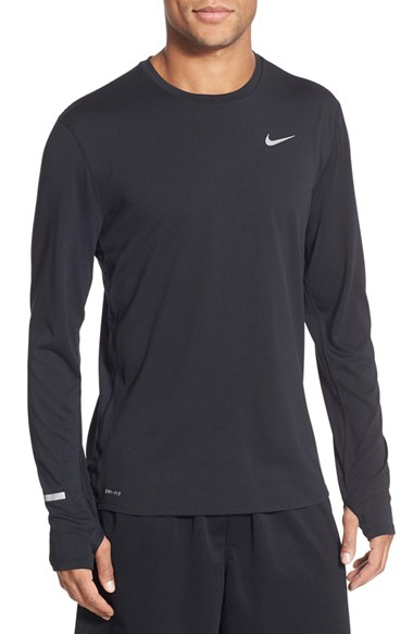 Nike Contour Long Sleeved Dri Fit Running T Shirt In Black