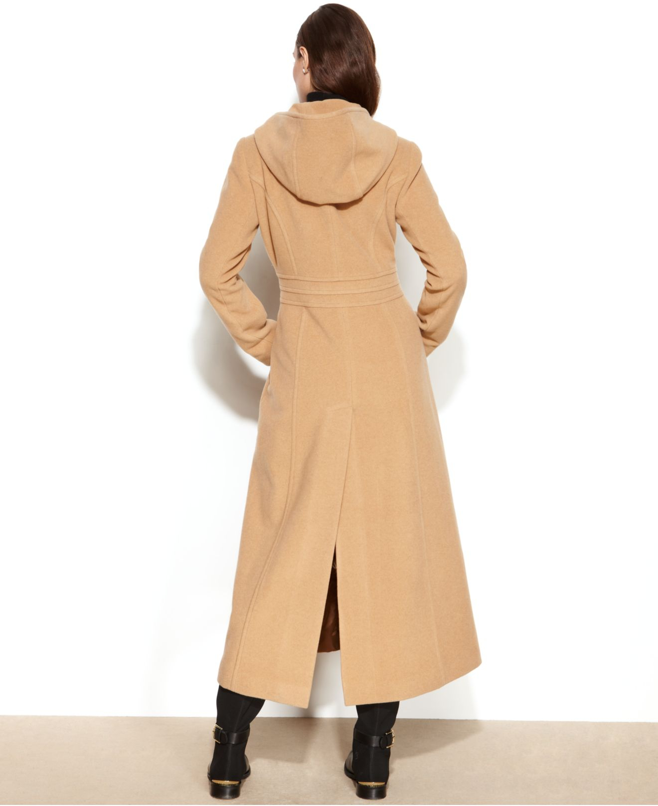 Anne klein Double-Breasted Wool-Blend Hooded Maxi Coat in Natural