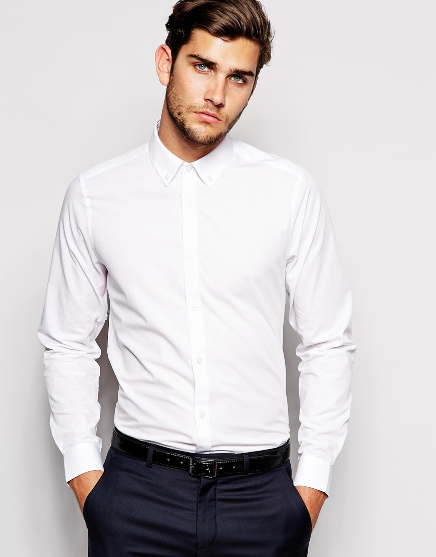 Lyst asos smart shirt in long sleeve with button down for White shirt with collar pin