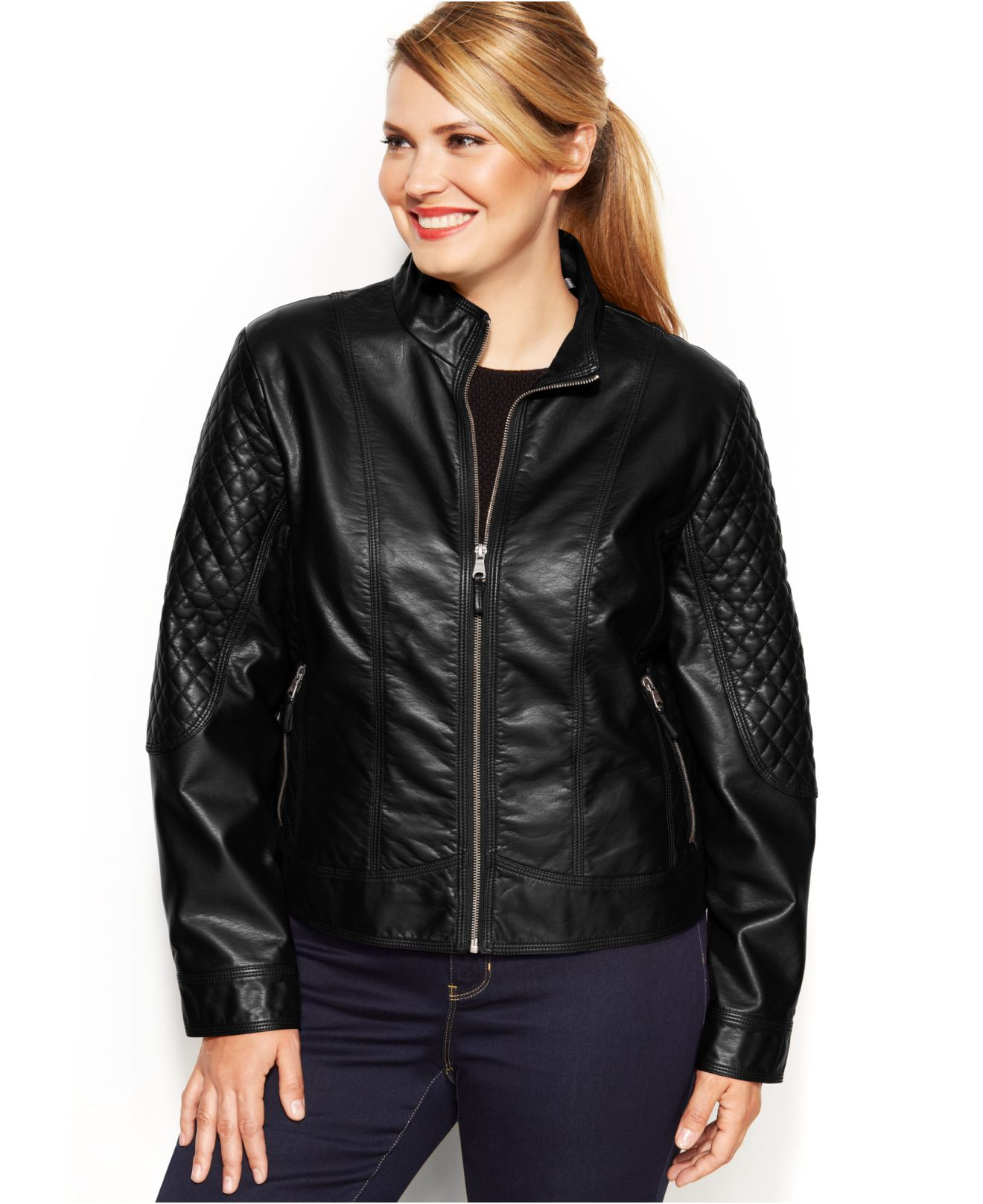 Jessica simpson Plus Size Faux-Leather Quilted Moto Jacket in ...