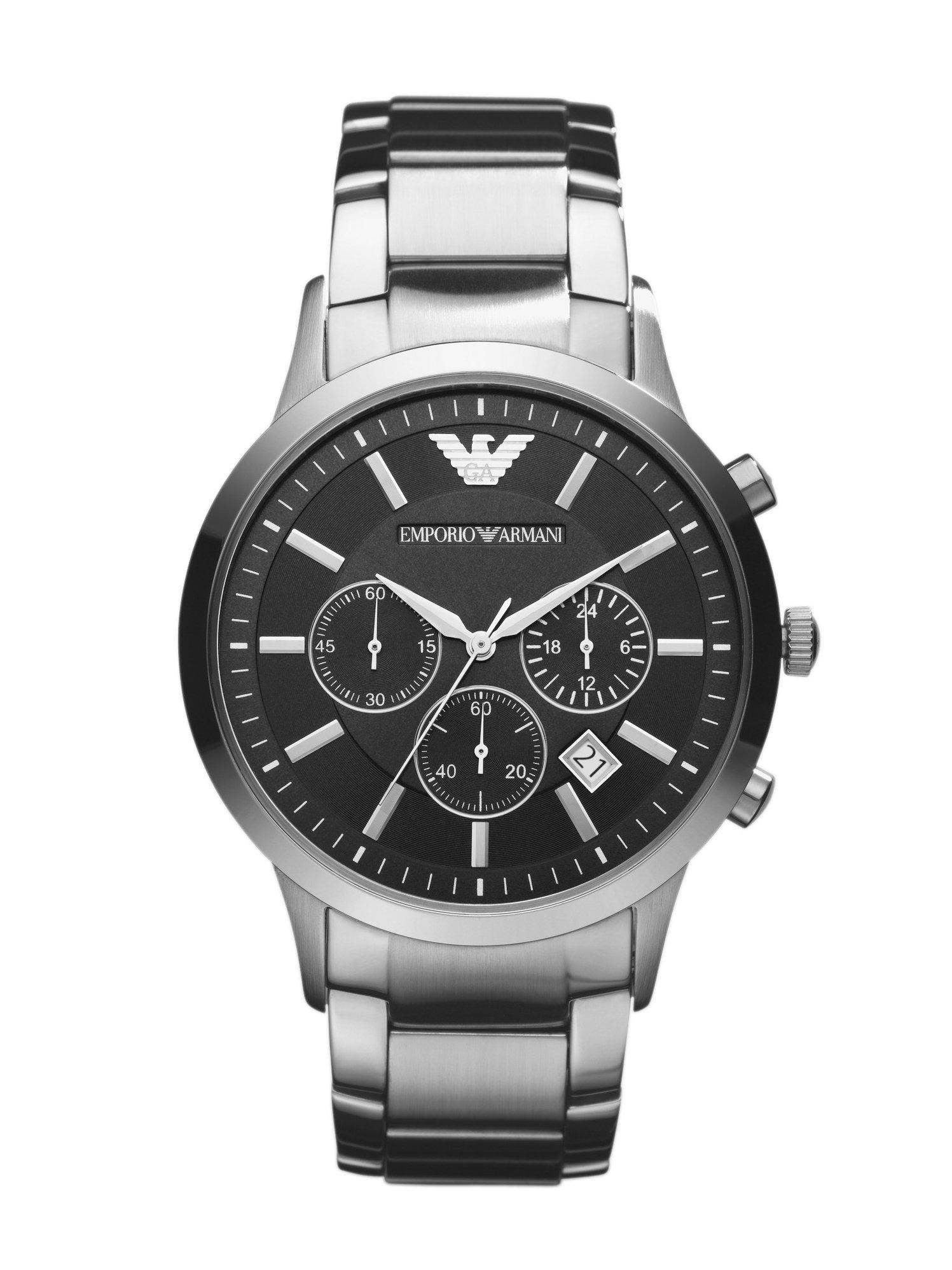 emporio armani classic chronograph watch in black for men. Black Bedroom Furniture Sets. Home Design Ideas