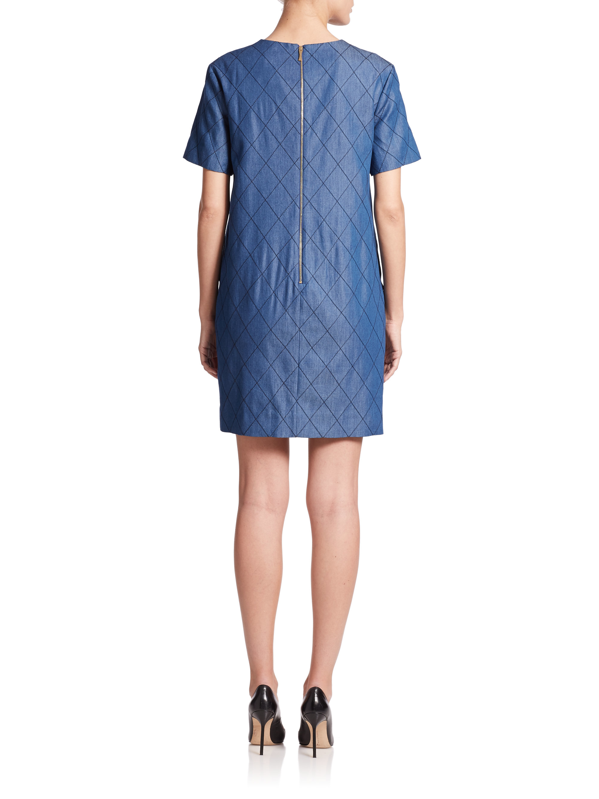 Kate spade quilted chambray shift dress in blue darkest for Chambray dress