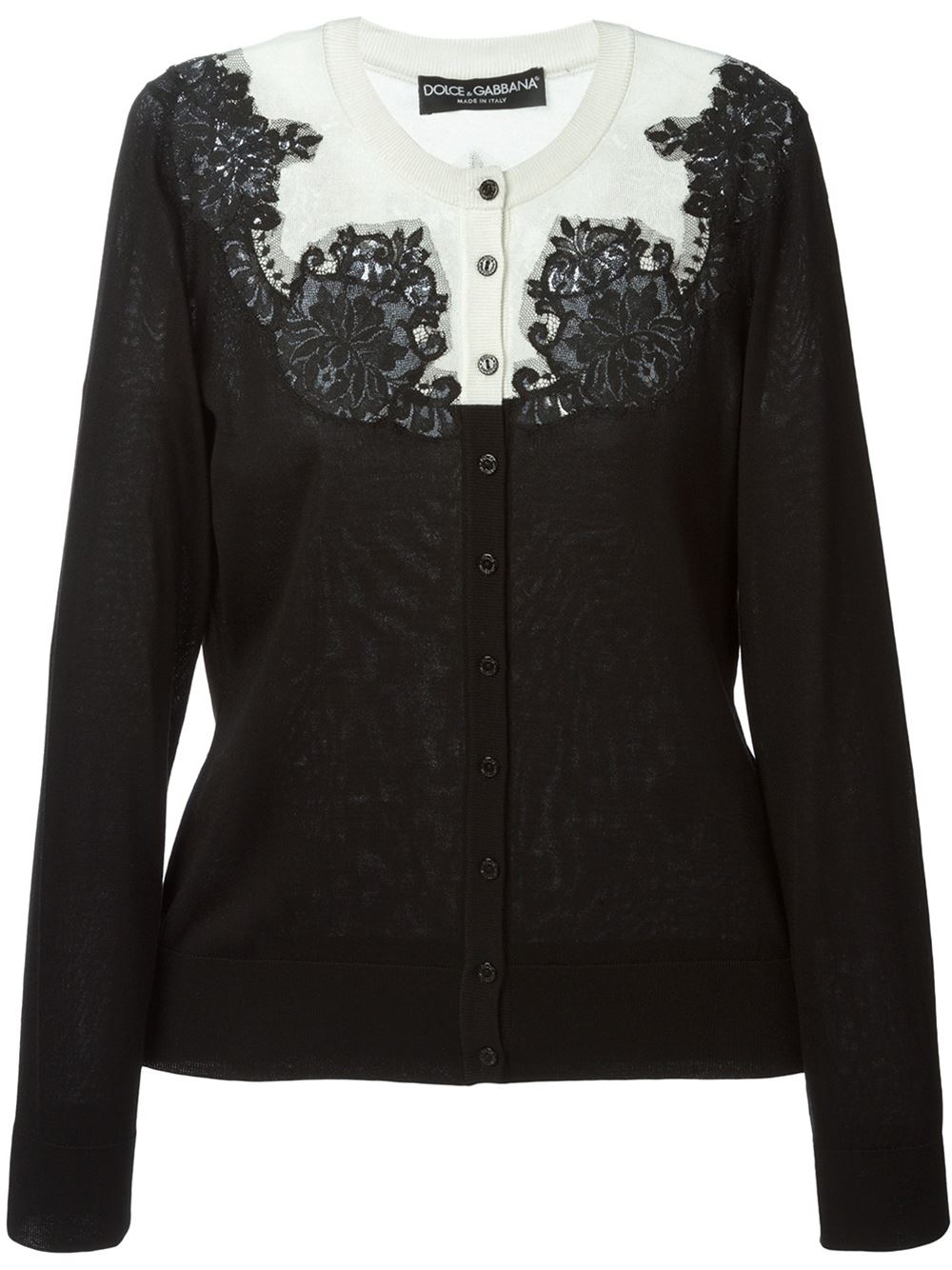 Dolce & gabbana Lace-Detail Silk Cardigan in Black | Lyst