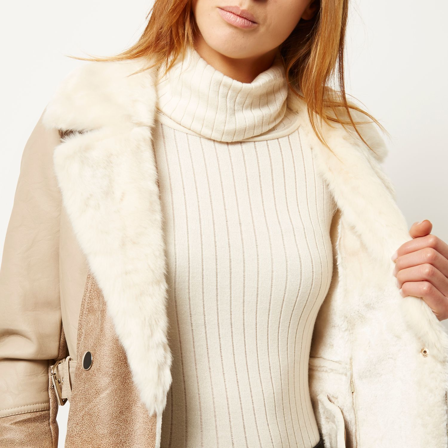 River Island Light Brown Faux Suede Faux Fur Coat In Brown