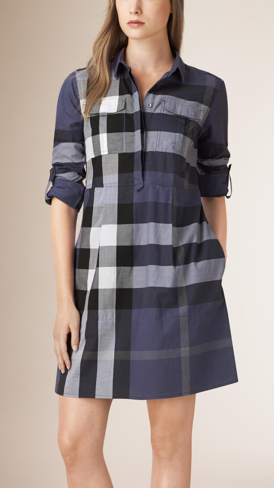 check tunic dress - Blue Burberry vho0TicEvp