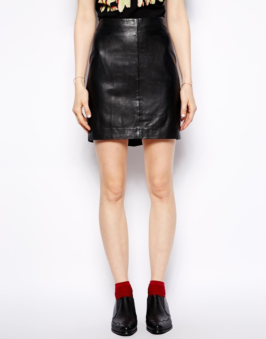 Muubaa Azka Fitted Leather Skirt in Black | Lyst