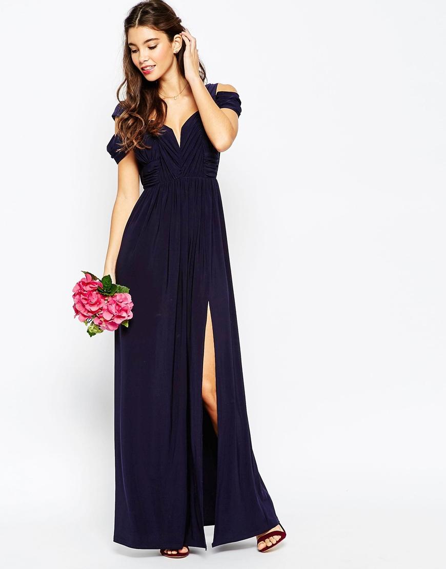 Asos wedding drape cold shoulder maxi dress in multicolor for Navy maxi dresses for weddings