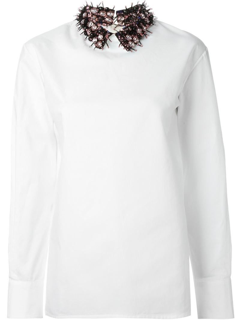 White Blouse Embellished Collar 110