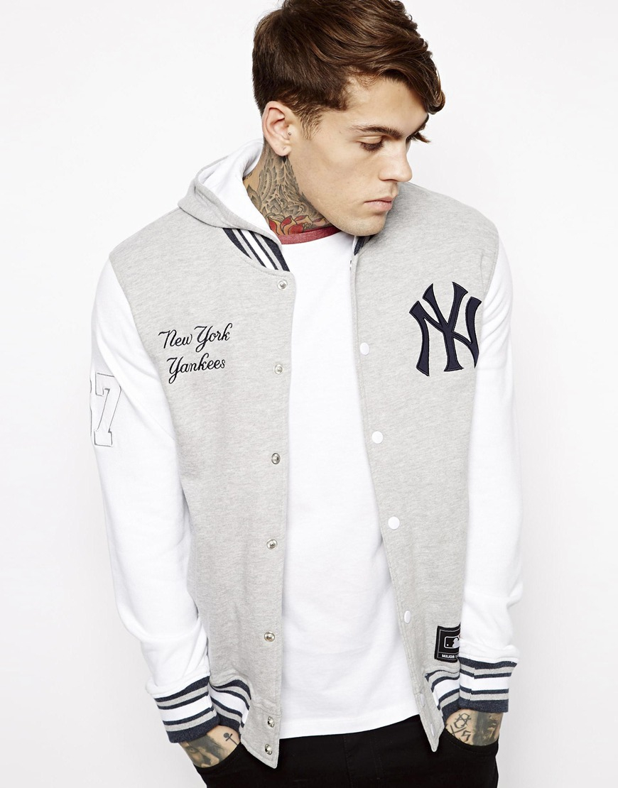 b5fba1880 Majestic Ny Yankees Sweat Letterman Jacket with Hood in Gray for Men ...