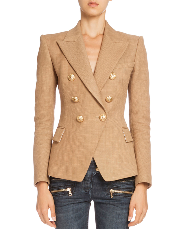 f30ebcdc Balmain Double-breasted Tweed Jacket in Brown - Lyst