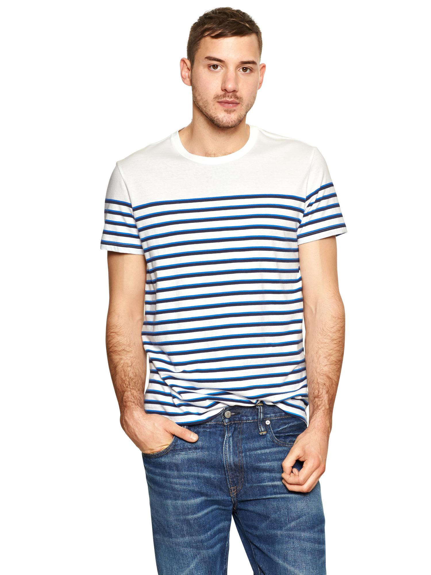 Gap essential striped t shirt in blue for men blue stripe for Blue striped shirt mens