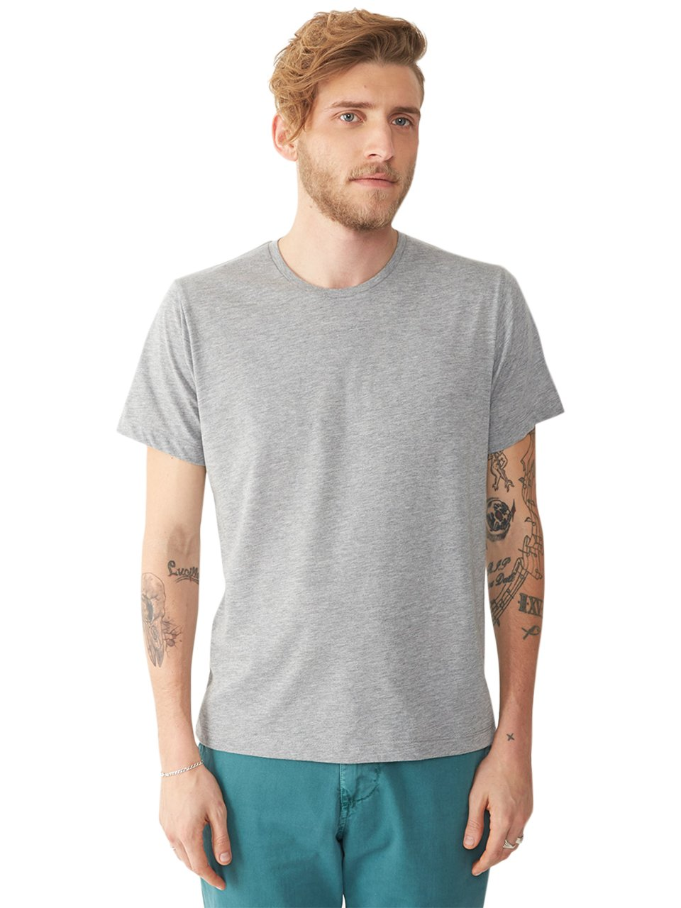 Alternative apparel basic mens crew t shirt in gray for for Mens heather grey t shirt
