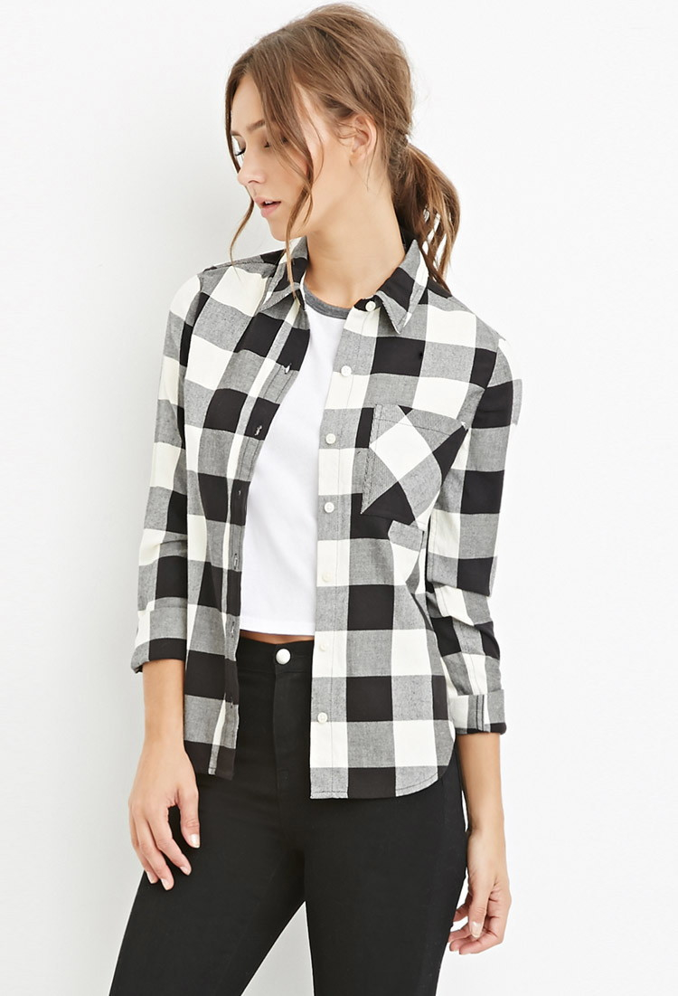 Forever 21 flannel plaid shirt in black lyst for Flannel shirts for womens forever 21