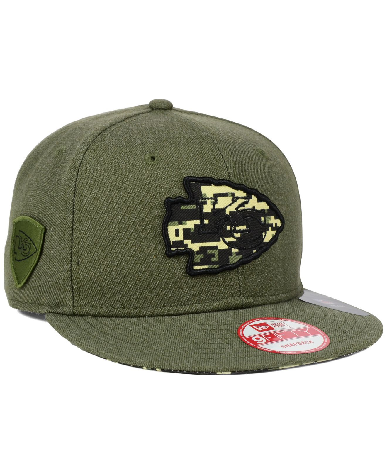 Ktz Kansas City Chiefs Camo 9fifty Snapback Cap In Green