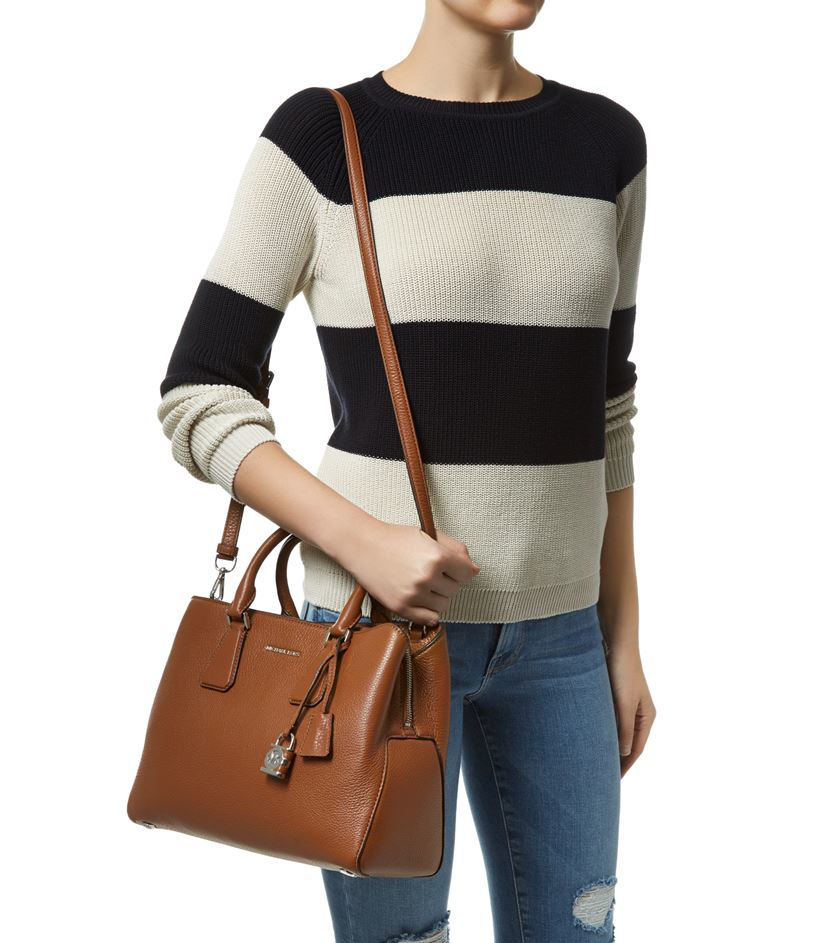 3804b1446849 ... where to buy michael michael kors large camille satchel in brown lyst  c8069 c3e21 official michael kors camille small leather satchel black ...