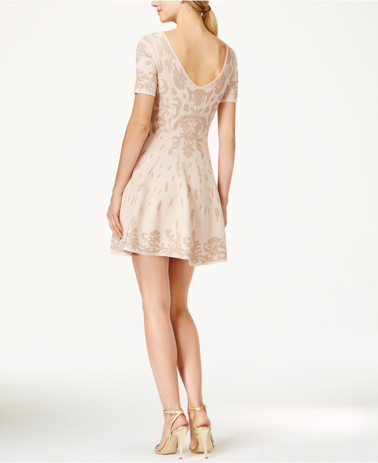 Ivanka trump Glitter Damask Fit & Flare Sweater Dress in Pink | Lyst