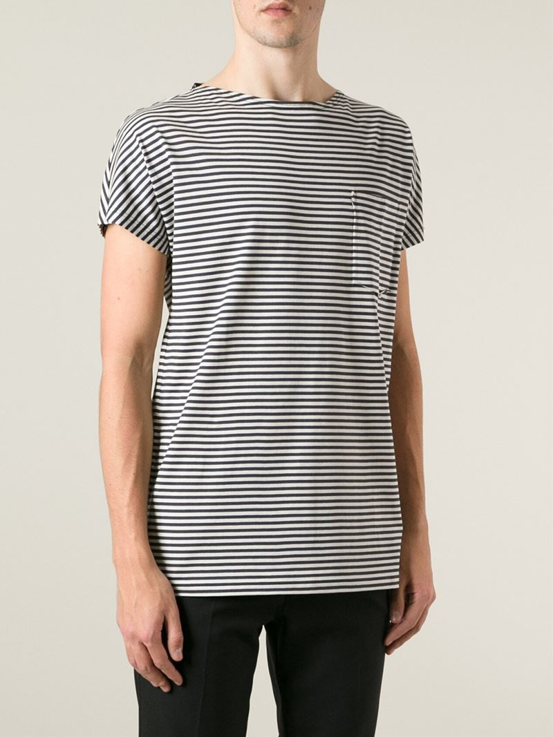 Lyst lanvin striped t shirt in gray for men for Grey striped t shirt