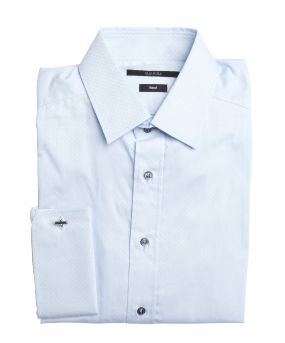 Gucci Blue Cotton French Cuff Point Collar Dress Shirt In