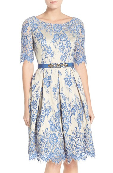 Eliza J Lace Fit Amp Flare Dress In Blue Lyst