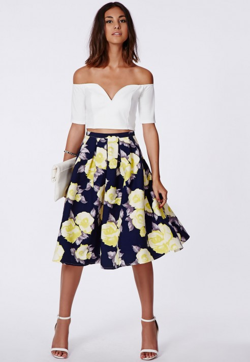 Missguided Gabriele Full Midi Skirt In Floral Print Navy in Blue ...