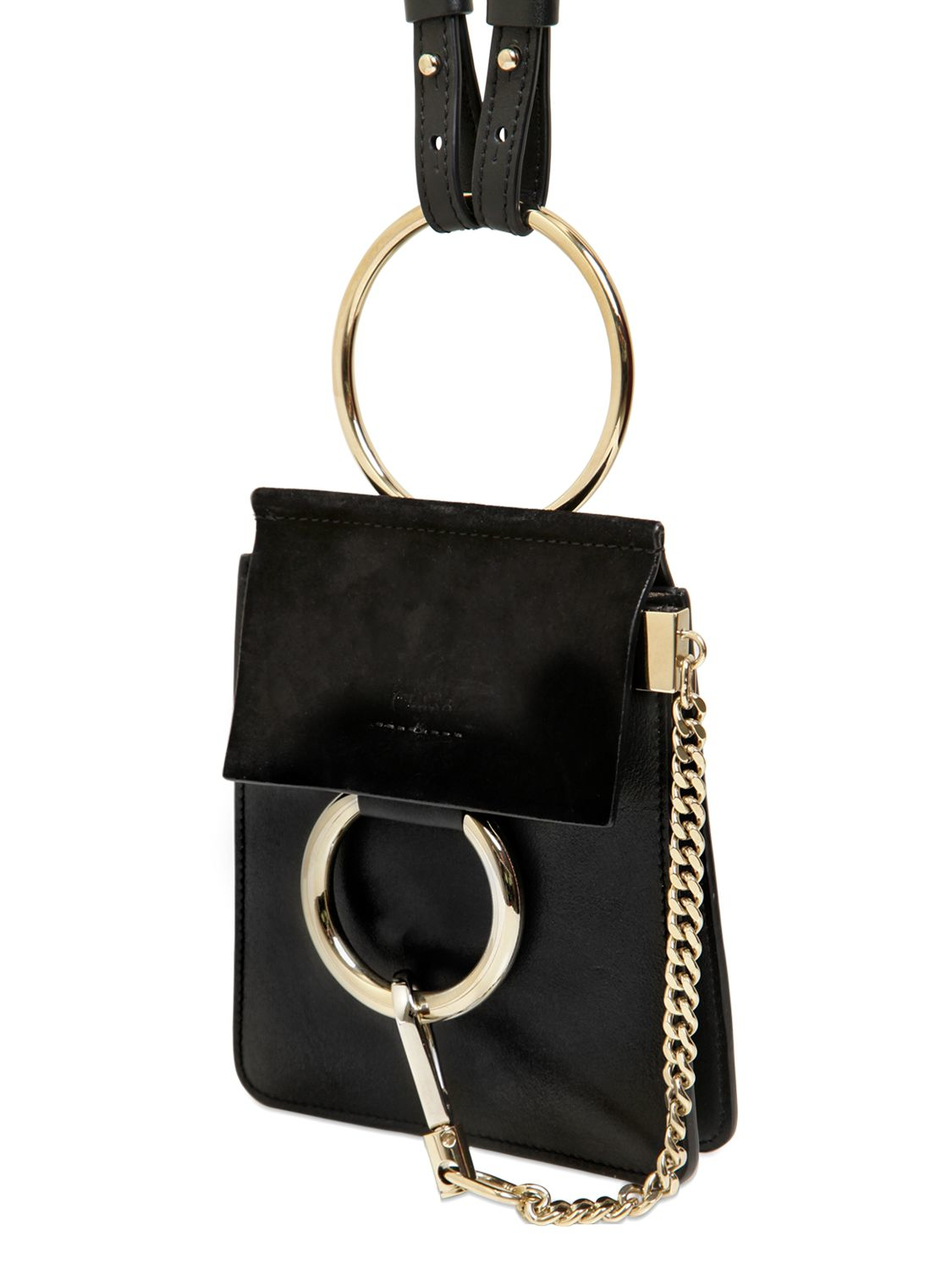 chlo mini faye leather suede shoulder bag in black lyst. Black Bedroom Furniture Sets. Home Design Ideas