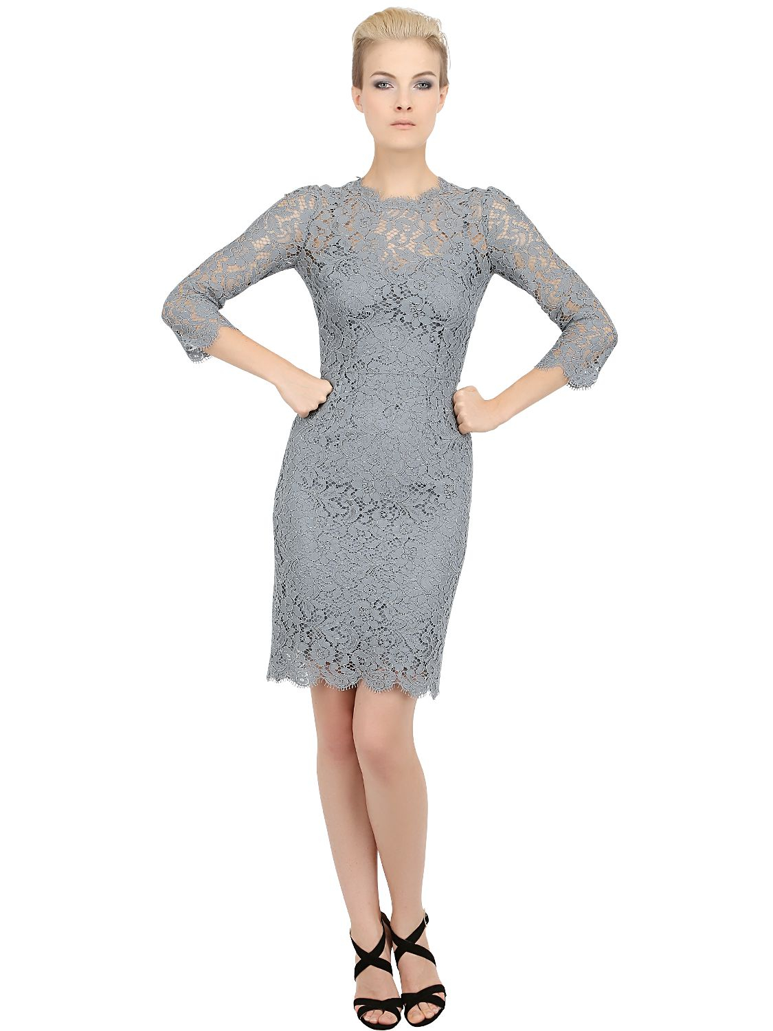 Wedding Gray Lace Dress dolce gabbana cordonetto cotton lace dress in gray lyst gallery
